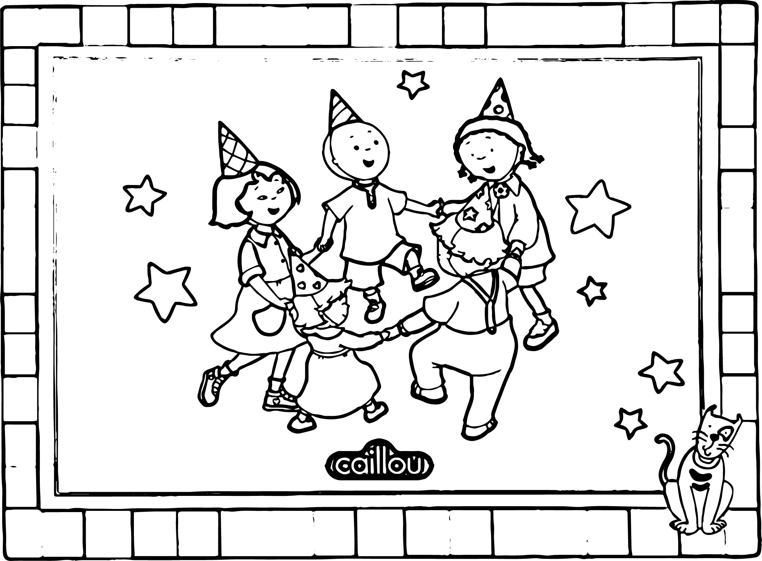 Caillou Dance Board Paper Sheet Coloring Page