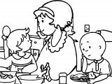 Caillou Dinner Coloring Page
