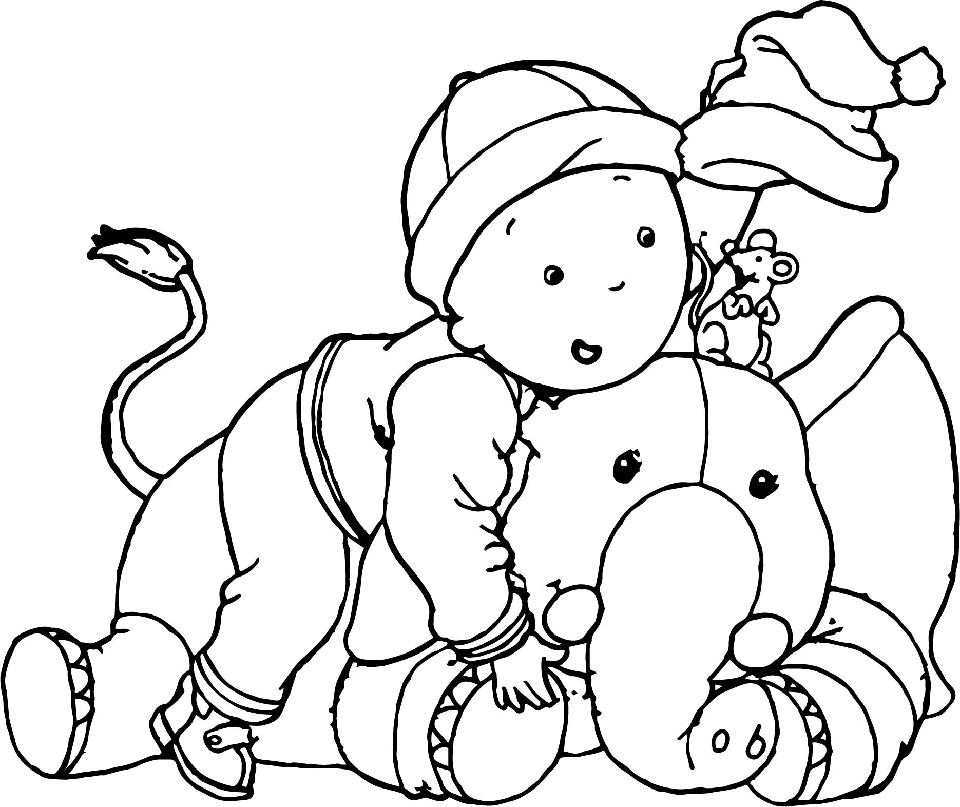 Caillou Elephant Mouse Funny Time Coloring Page