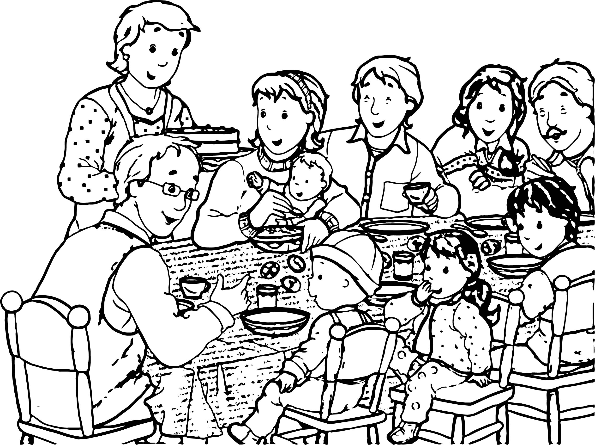 Caillou Family Parent Dinner Coloring Page
