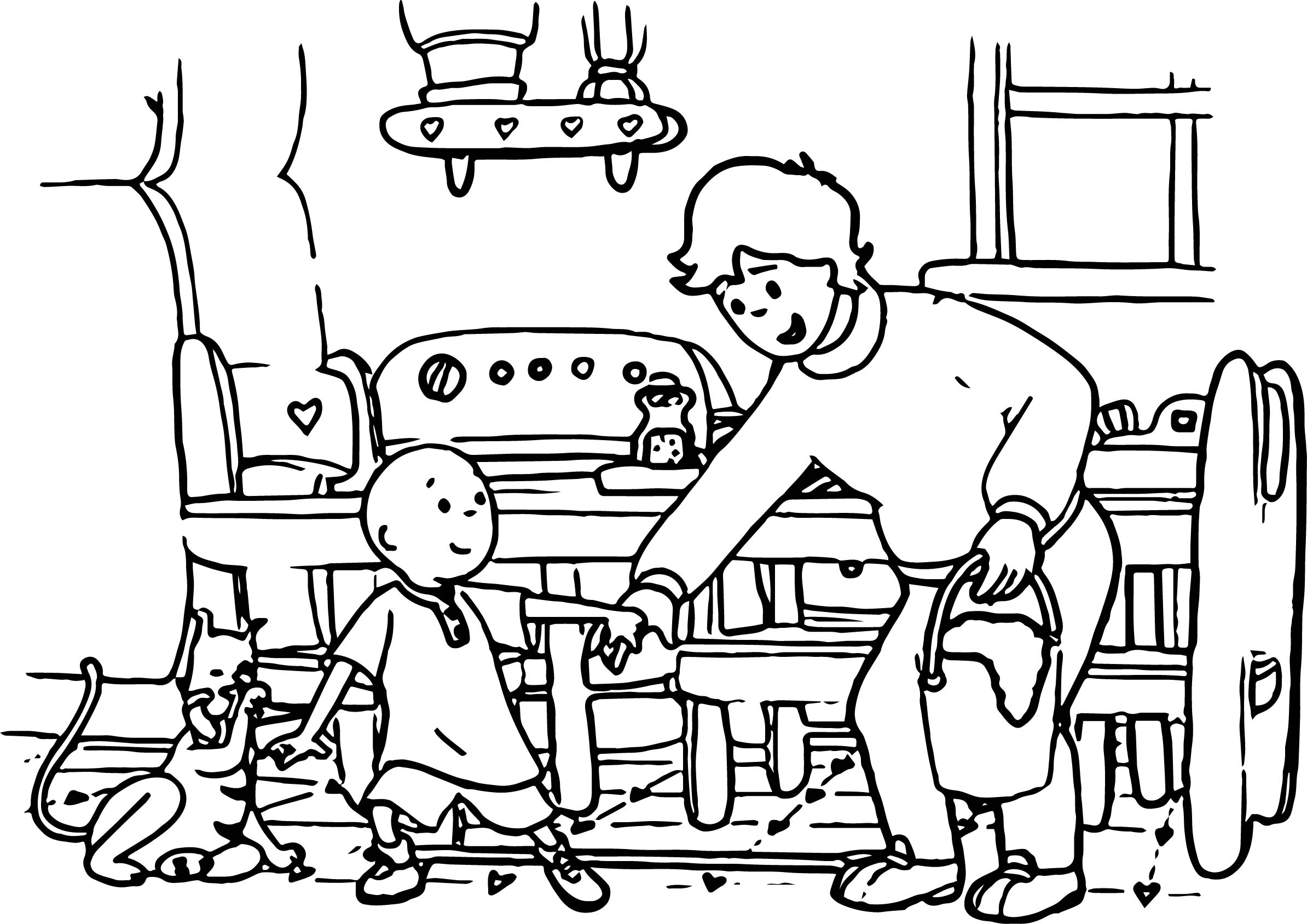 Caillou Father Cat Coloring Page