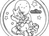 Caillou Love Cat Circle Coloring Page