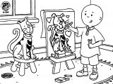 Caillou Painting Cat Coloring Page