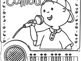 Caillou Piano Coloring Page