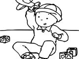 Caillou Playing Plane Coloring Page