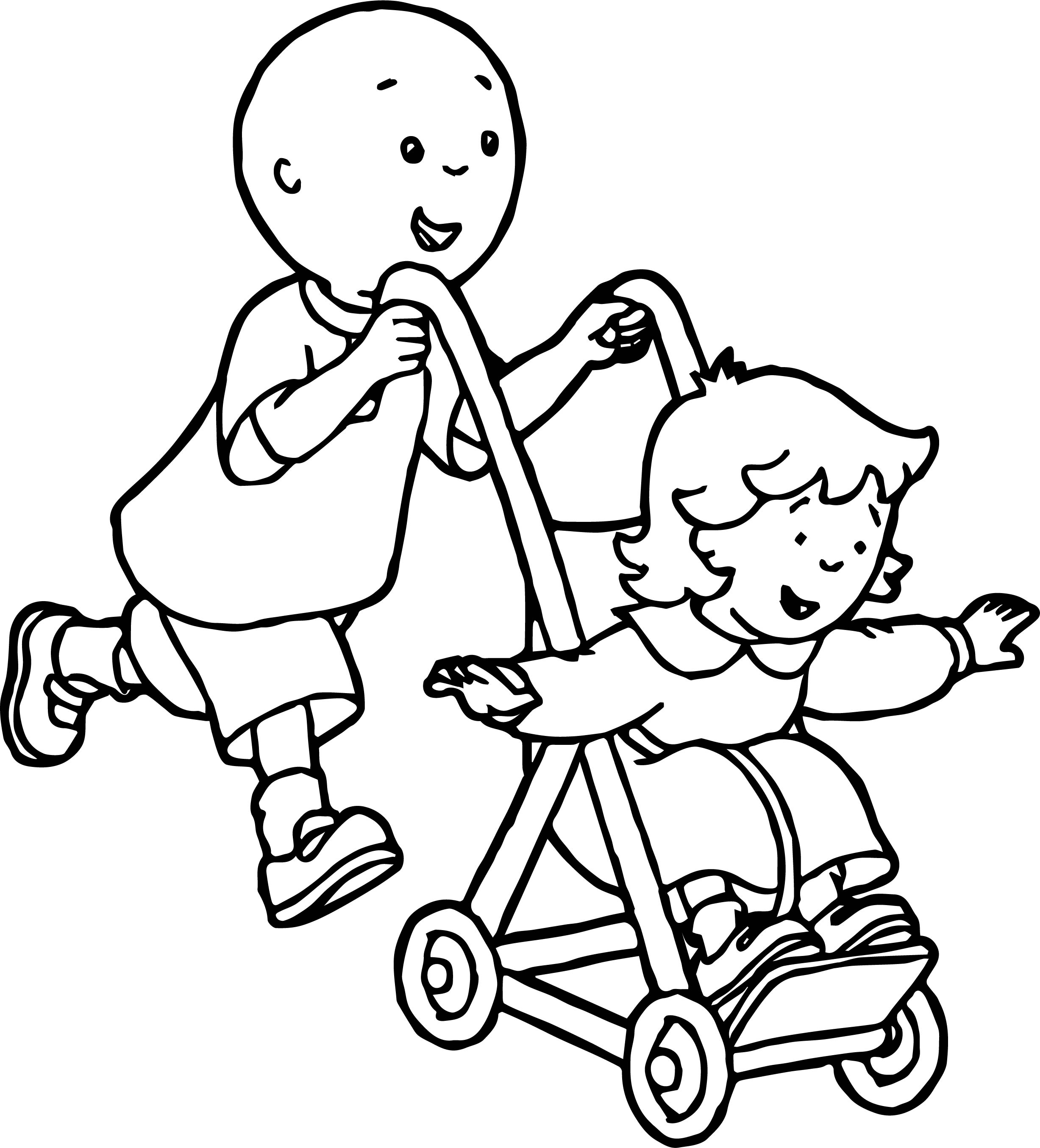 Caillou Pushing Rosie In Stroller Caillou Coloring Page