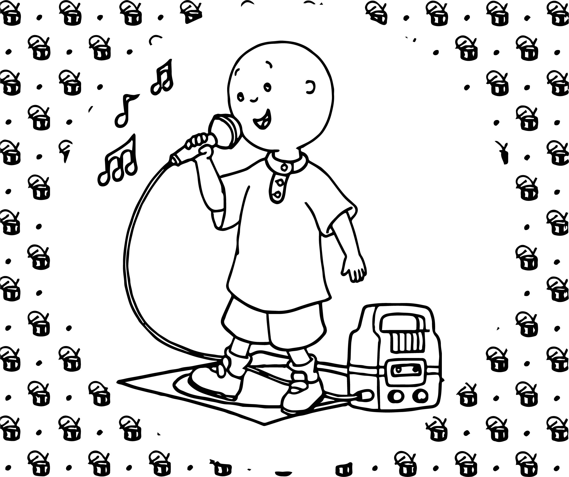 Caillou Singing Caillou Coloring Page