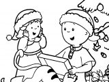 Caillou Sister Chrismas Gift Coloring Page