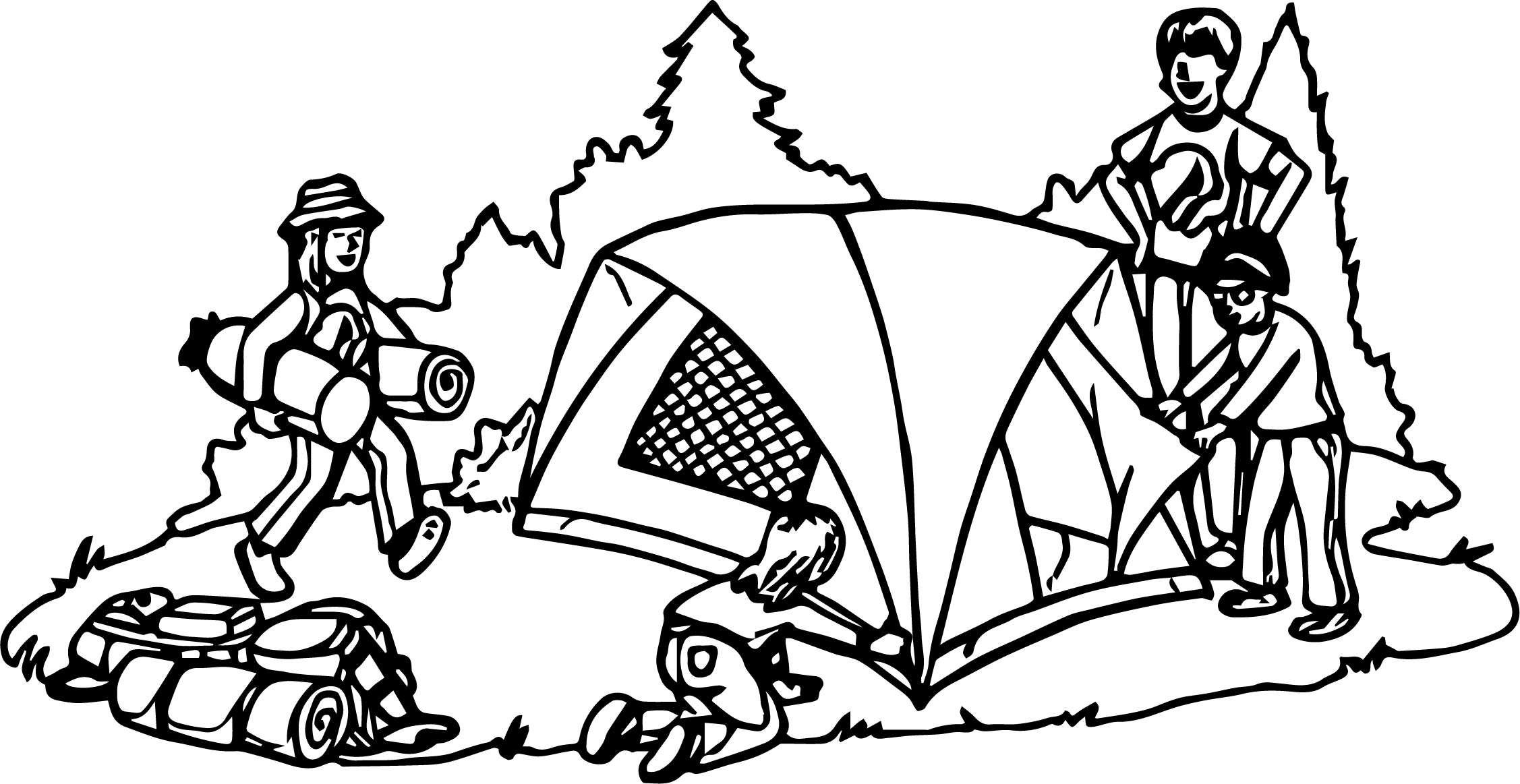 Camping Coloring Page. Great Outdoor Coloring Pages As Dancing ...