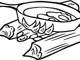 Campfire Cooking Camping Egg Food Coloring Page