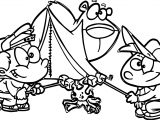 Camping Cartoon Kids Coloring Page