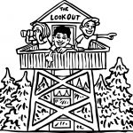 Camping Child Lookout Coloring Page