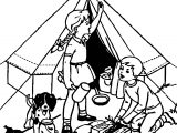 Camping Childrens Coloring Page