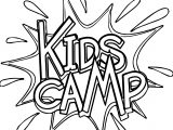 Camping Kids Camp Text Coloring Page