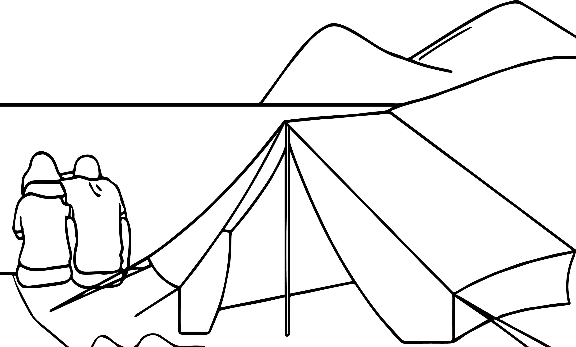 Camping Ocean Couple Coloring Page