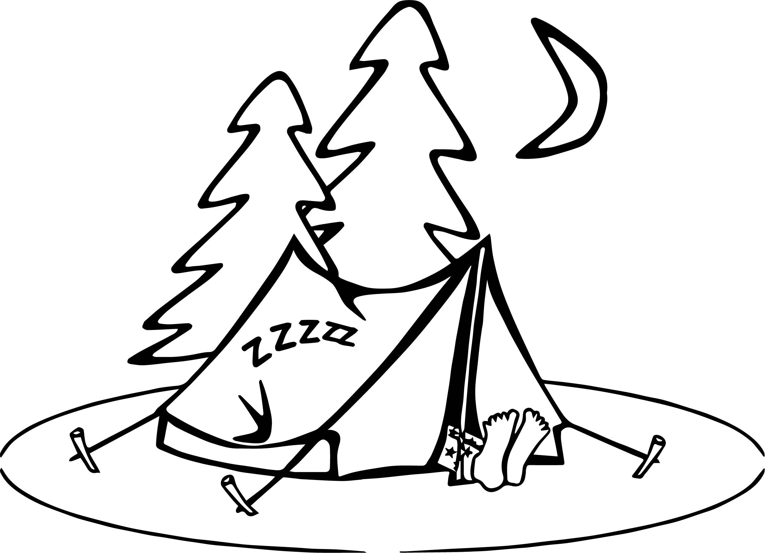 Camping Sleeping Coloring Page