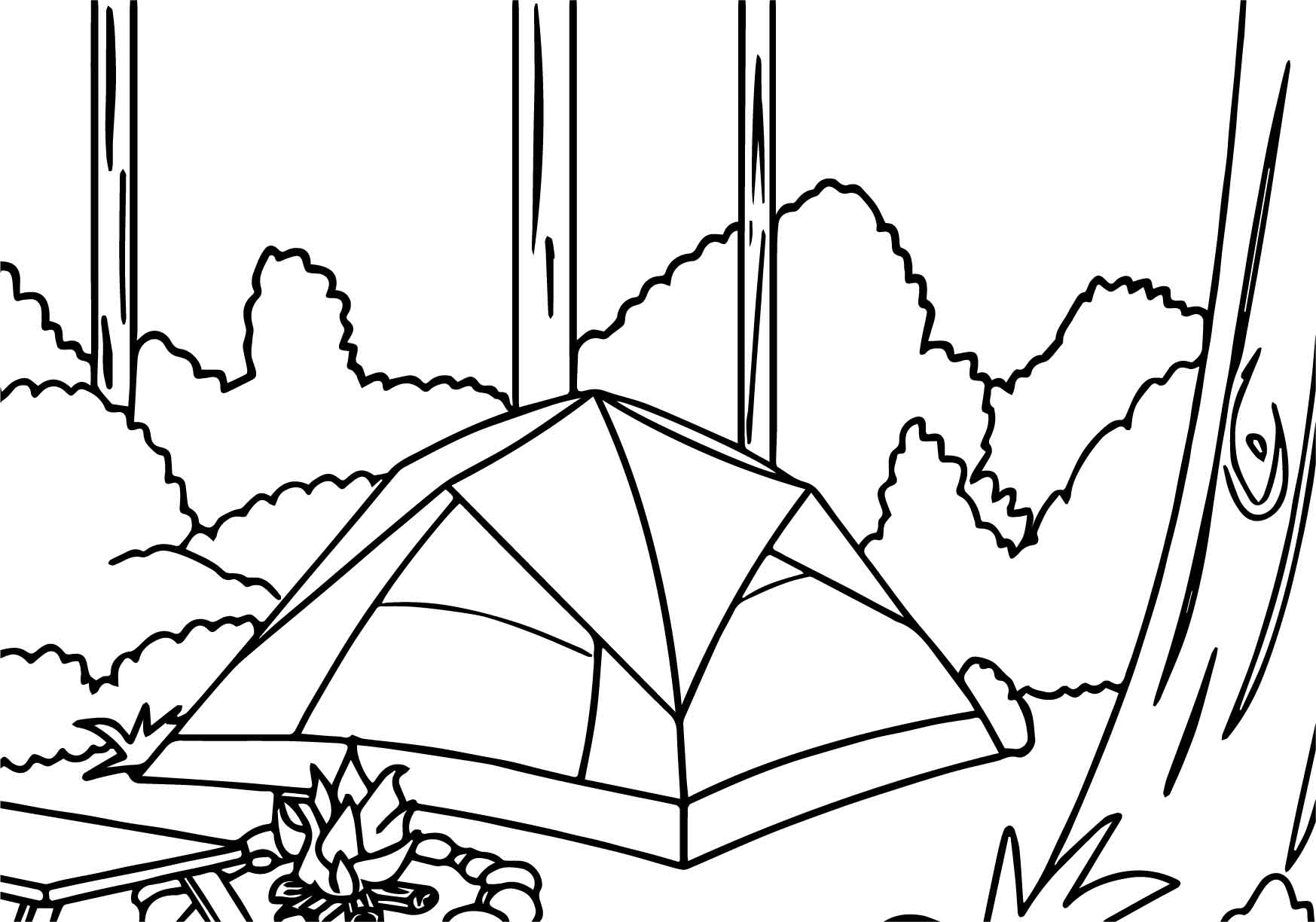 Camping Tent In Forest Coloring Page