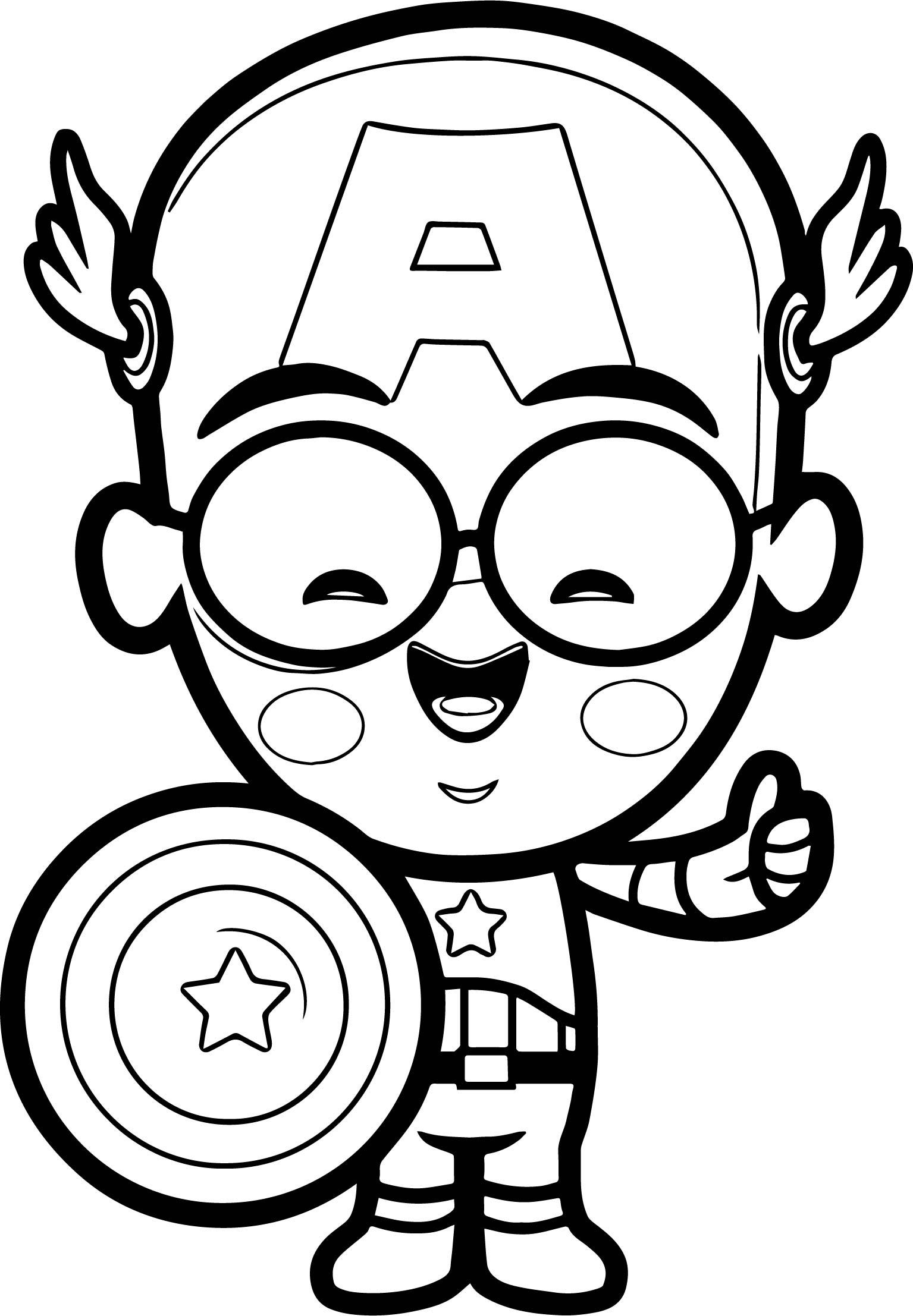 Captain Chibi Smile Coloring Page Wecoloringpage Com