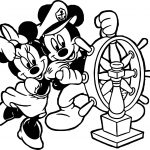 Captain Minnie And Mickey Coloring Page