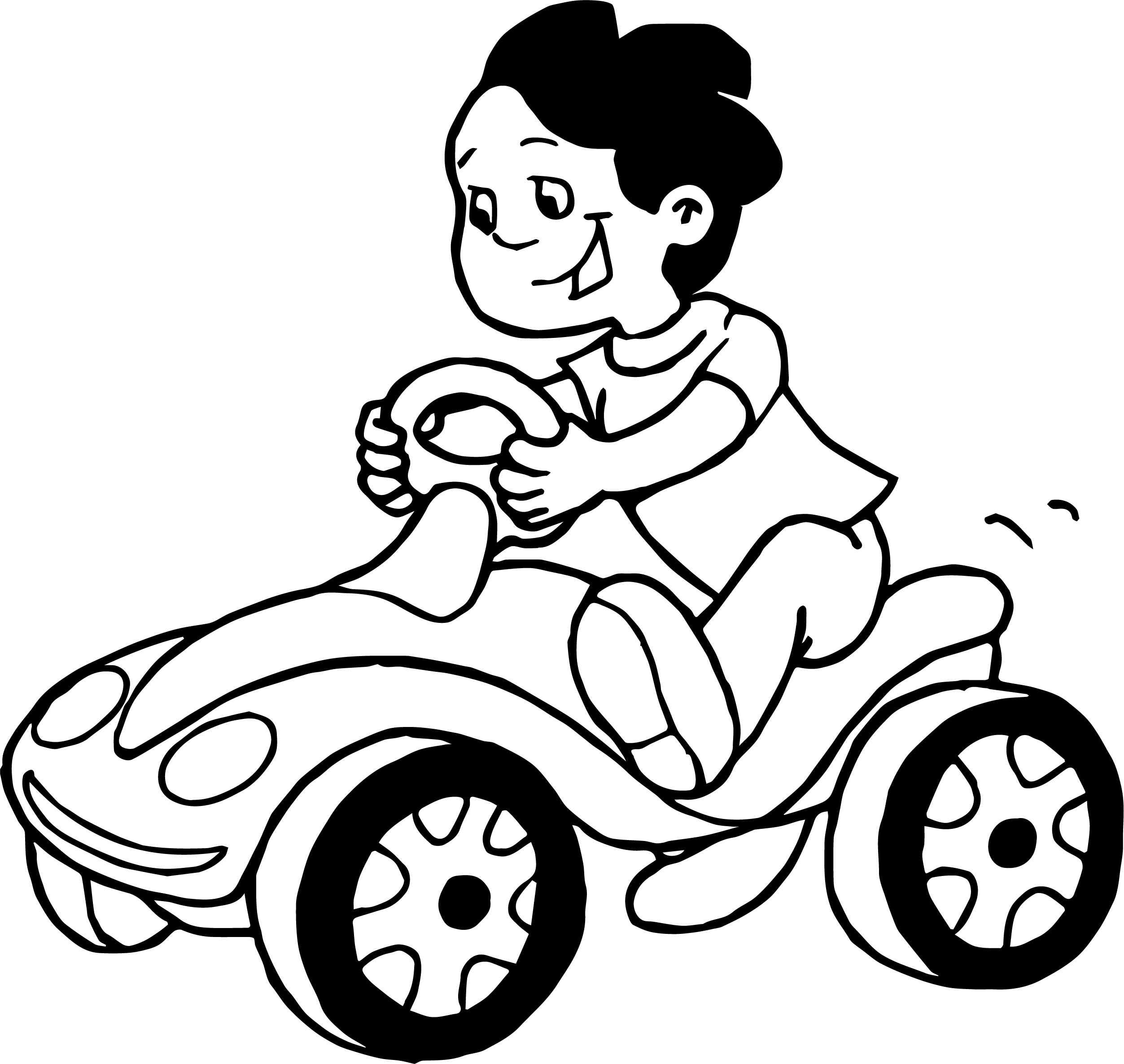 Car Riding Boy Coloring Page