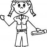 Carpenter Builder Engineer Girl oloring Page