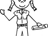 Carpenter Builder Engineer Girl oloring Page