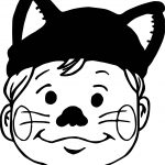 Cat Boy Face Coloring Page