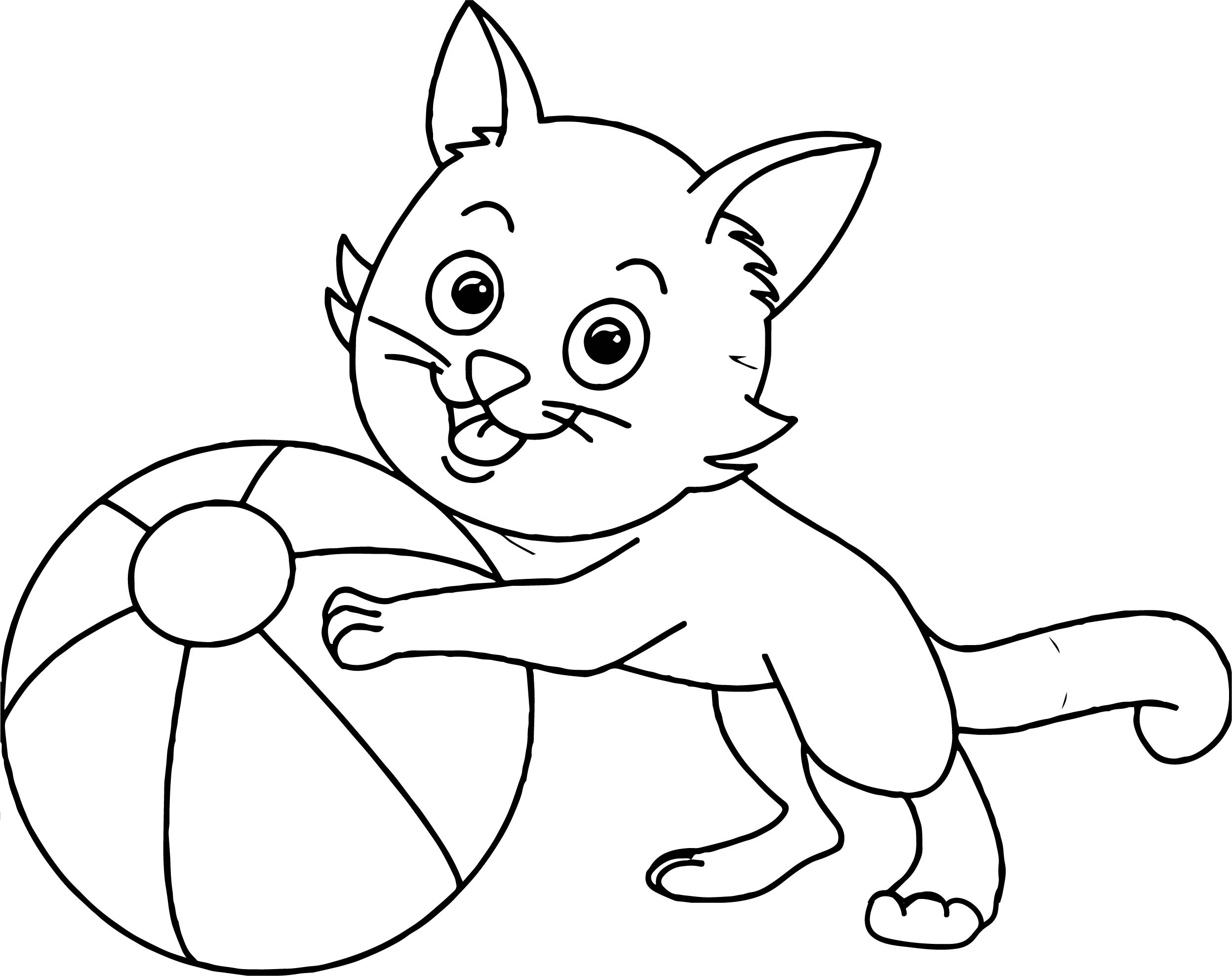 Cat Playing Ball Coloring Page