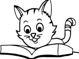 Cat Reading Book Coloring Page