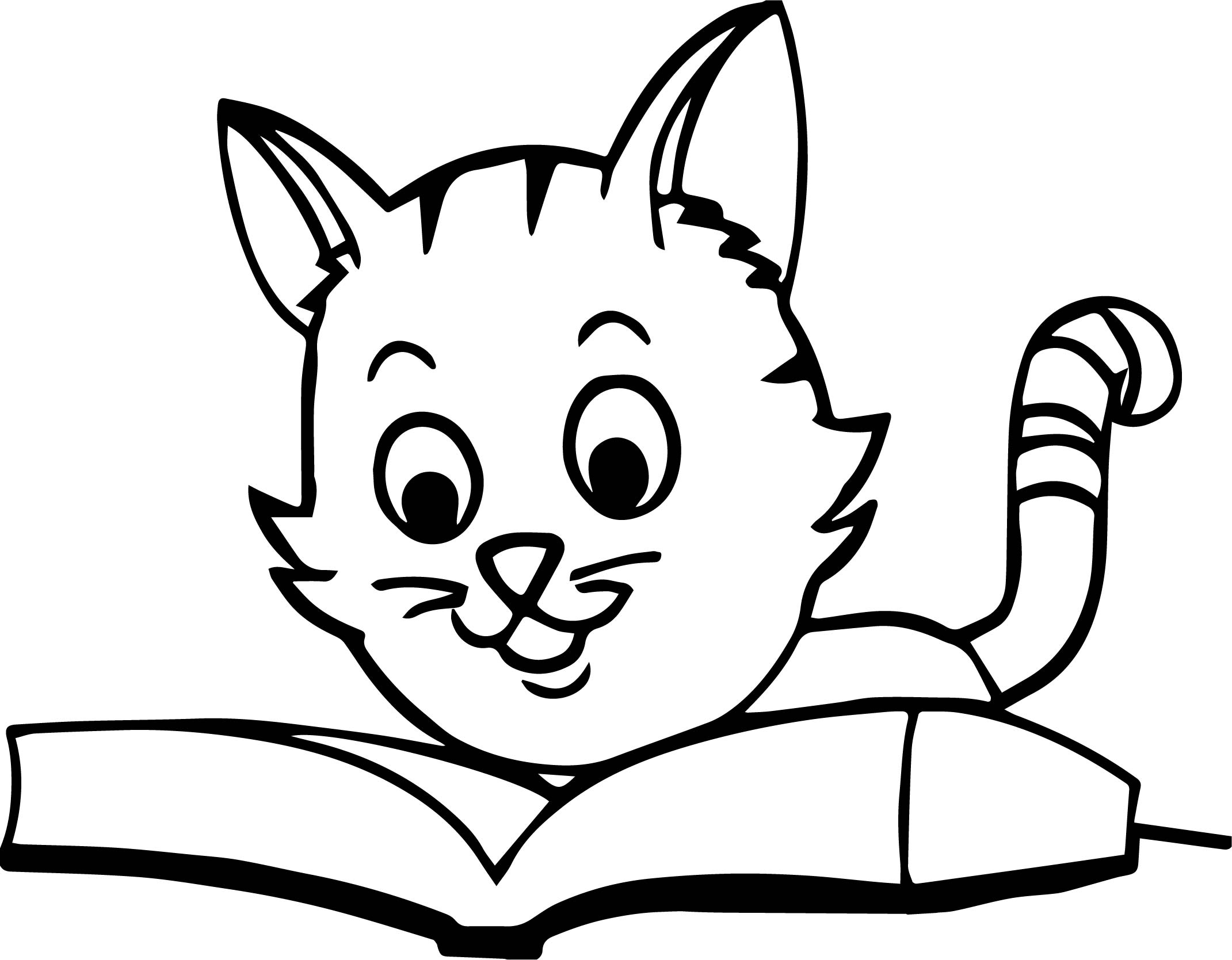 coloring pages about reading - cat reading book coloring page