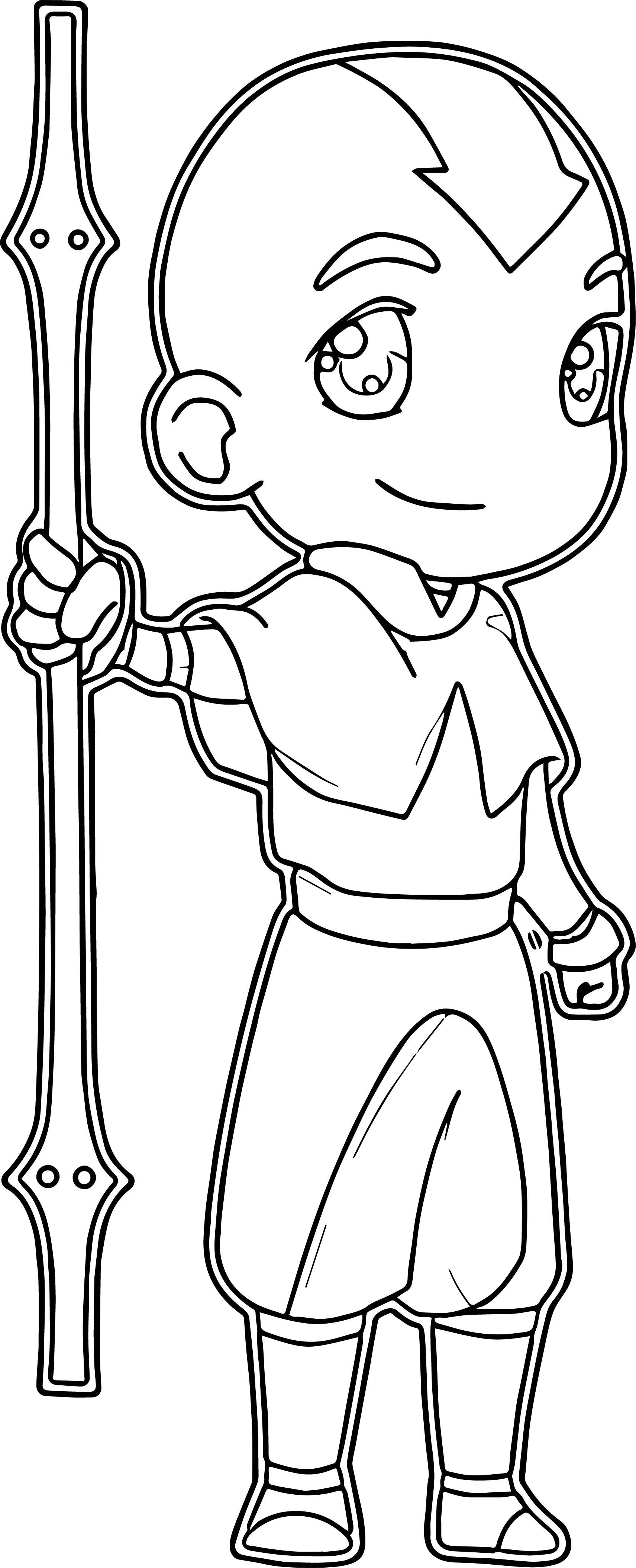 Chibi Aang Avatar Aang Coloring Page