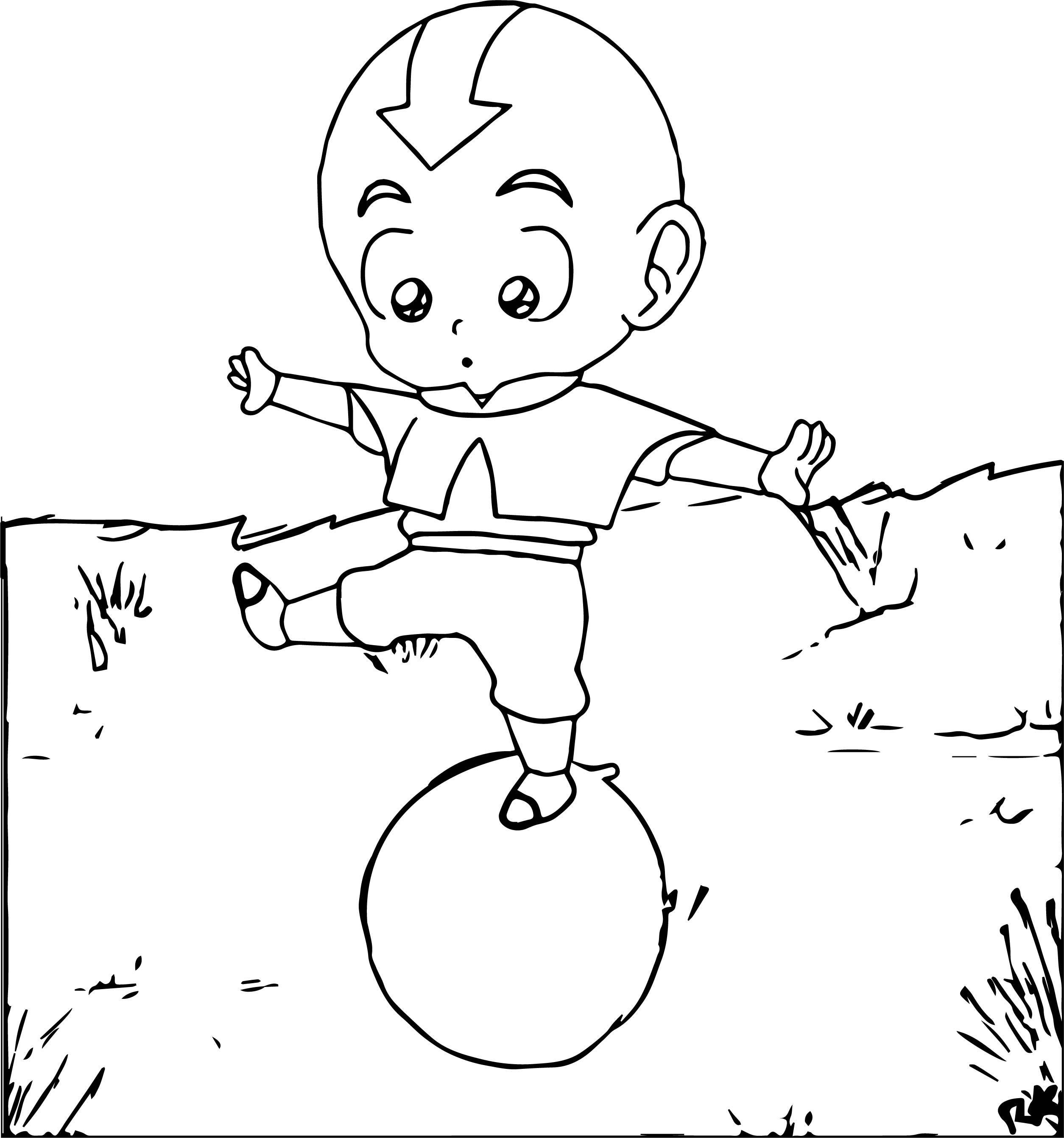 Chibi Aang Balance Avatar Aang Coloring Page