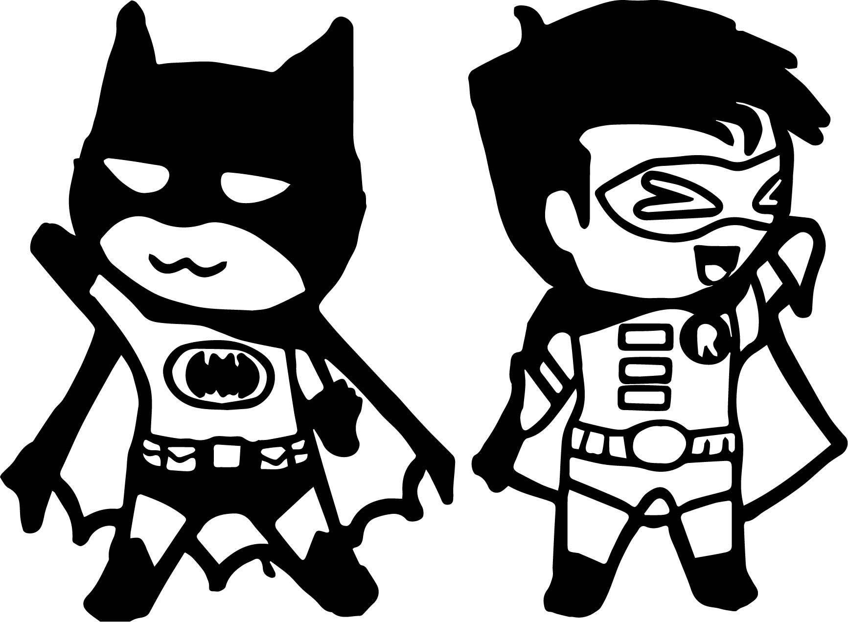 Chibi Batman And Robin Coloring Page