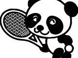 Chibi Kung Fu Panda Playing Tennis Coloring Page