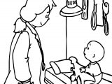 Children Caillou Doctor Coloring Page