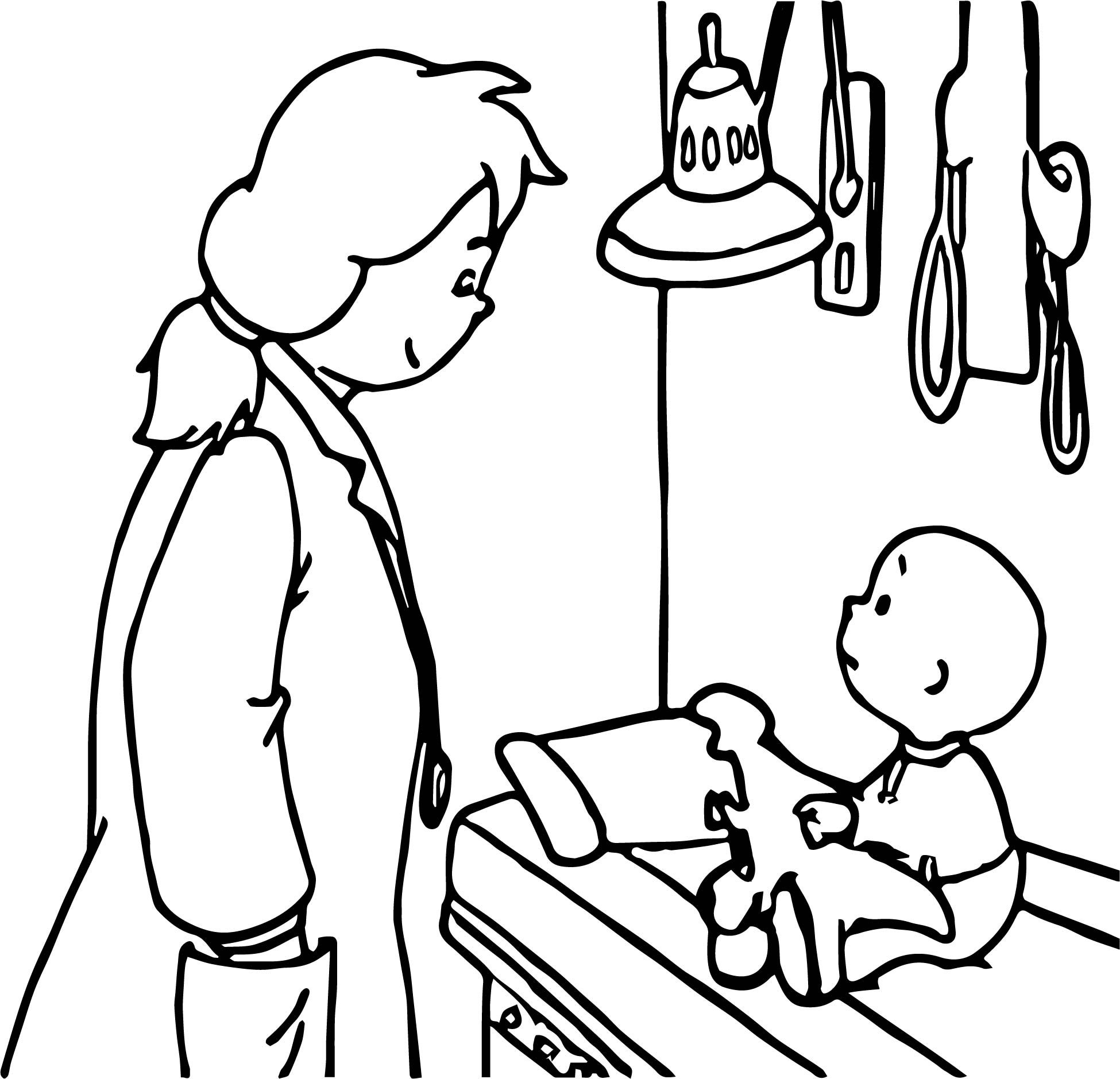 Children caillou doctor coloring page for Coloring page doctor