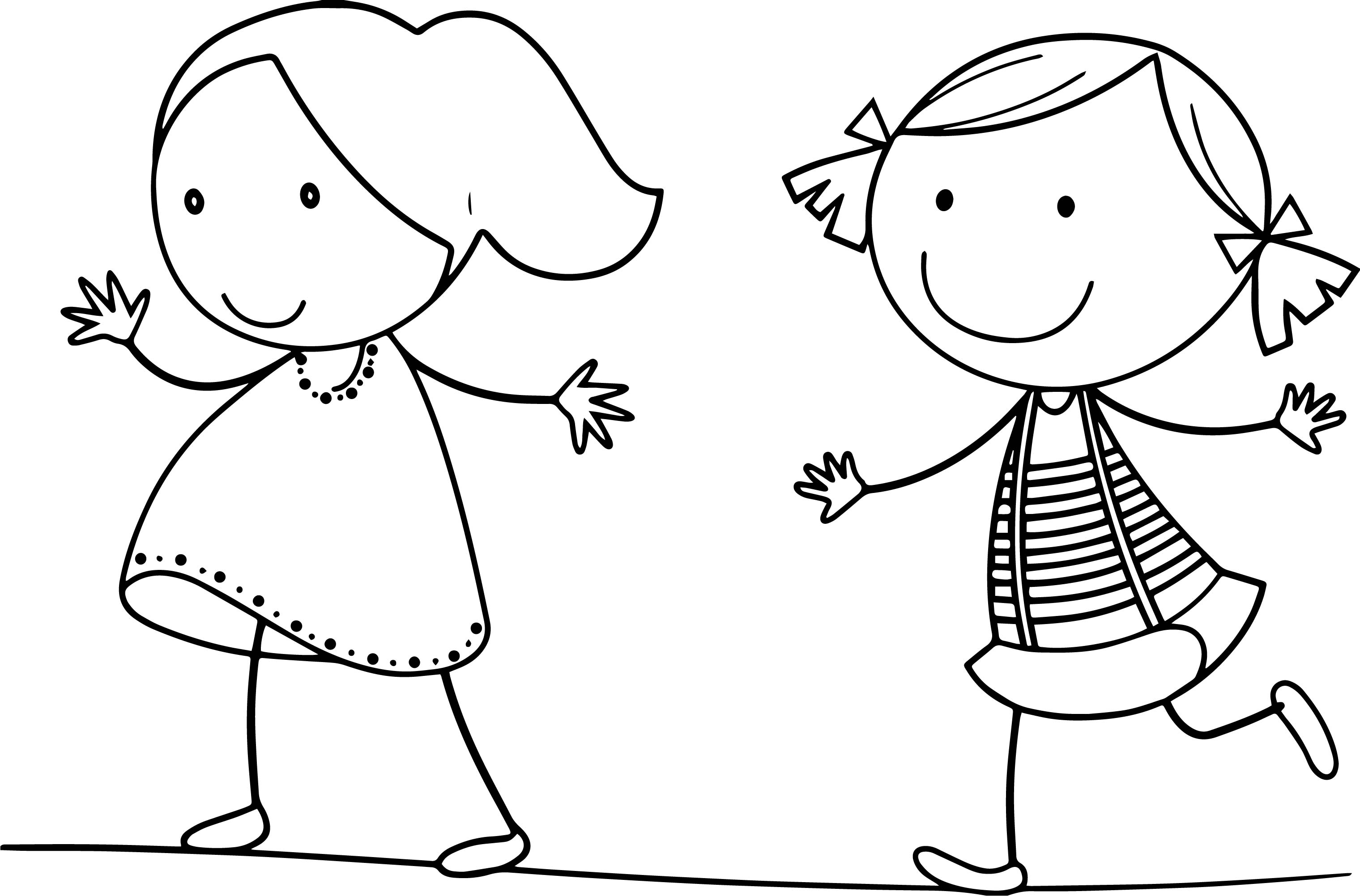 Children Run Girls Coloring Page