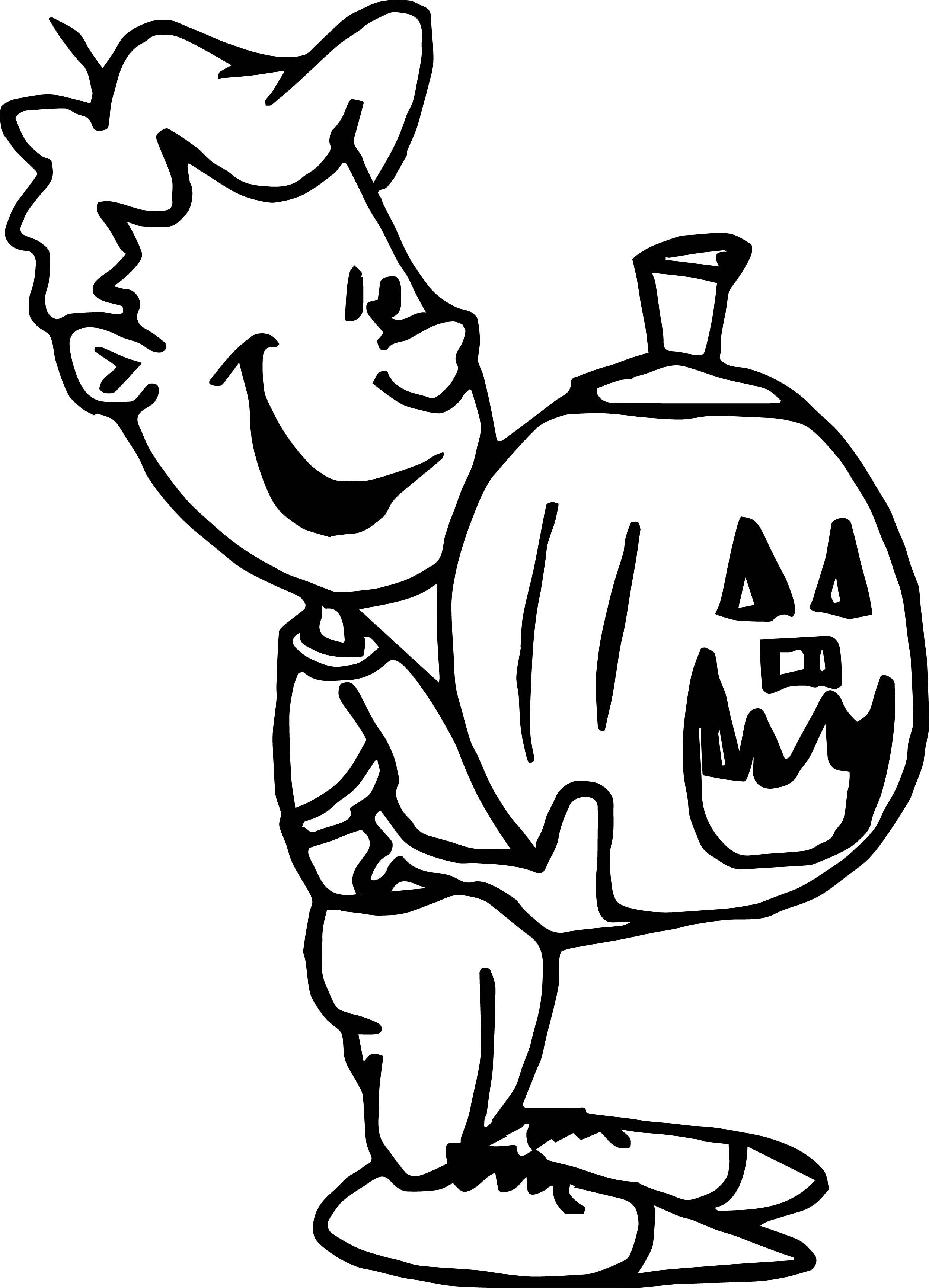 Chrismas Boy Holding Pumpkin Coloring Page | Wecoloringpage.com