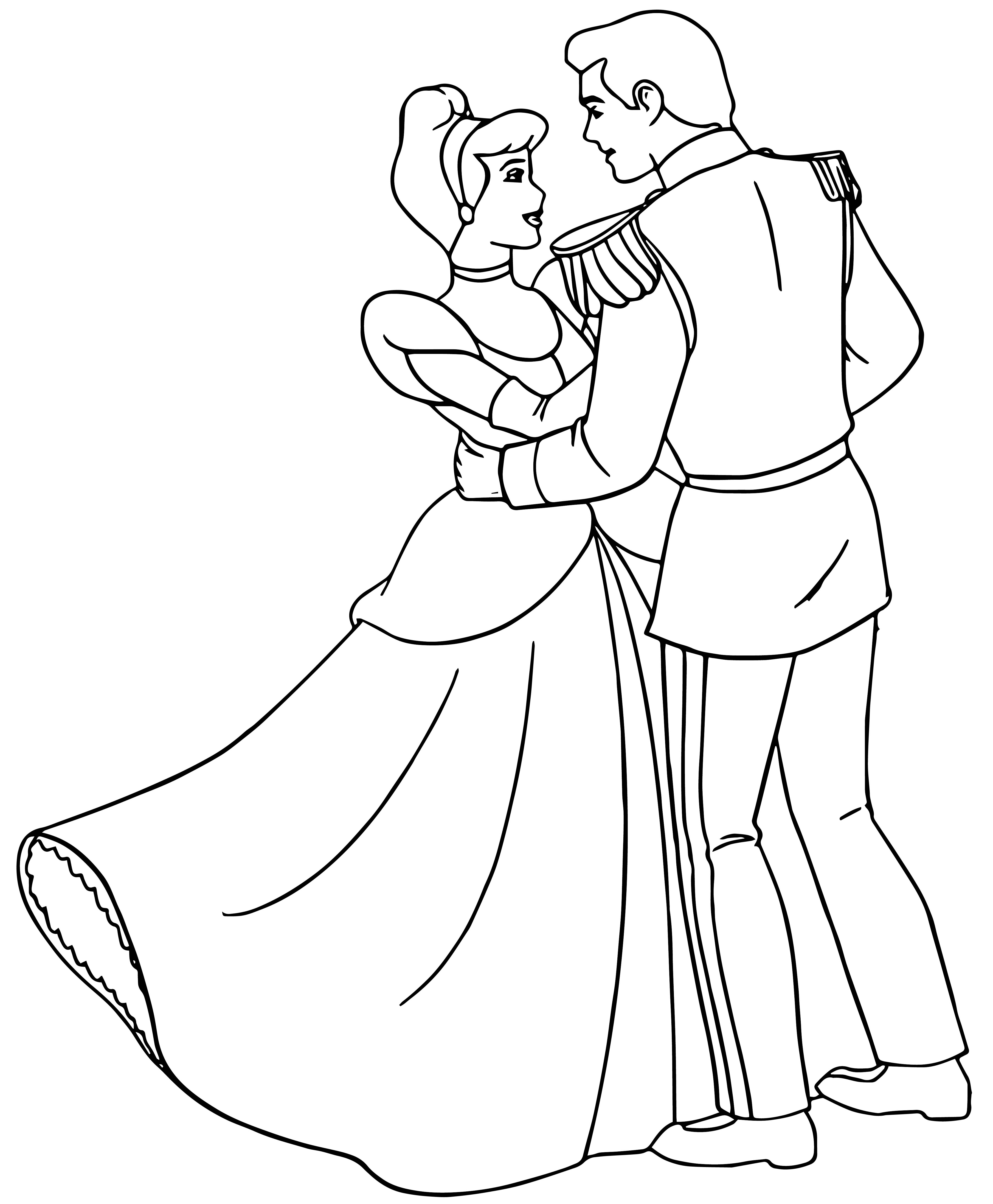 Cinderella And Prince Charming Dancing Coloring Pages ...