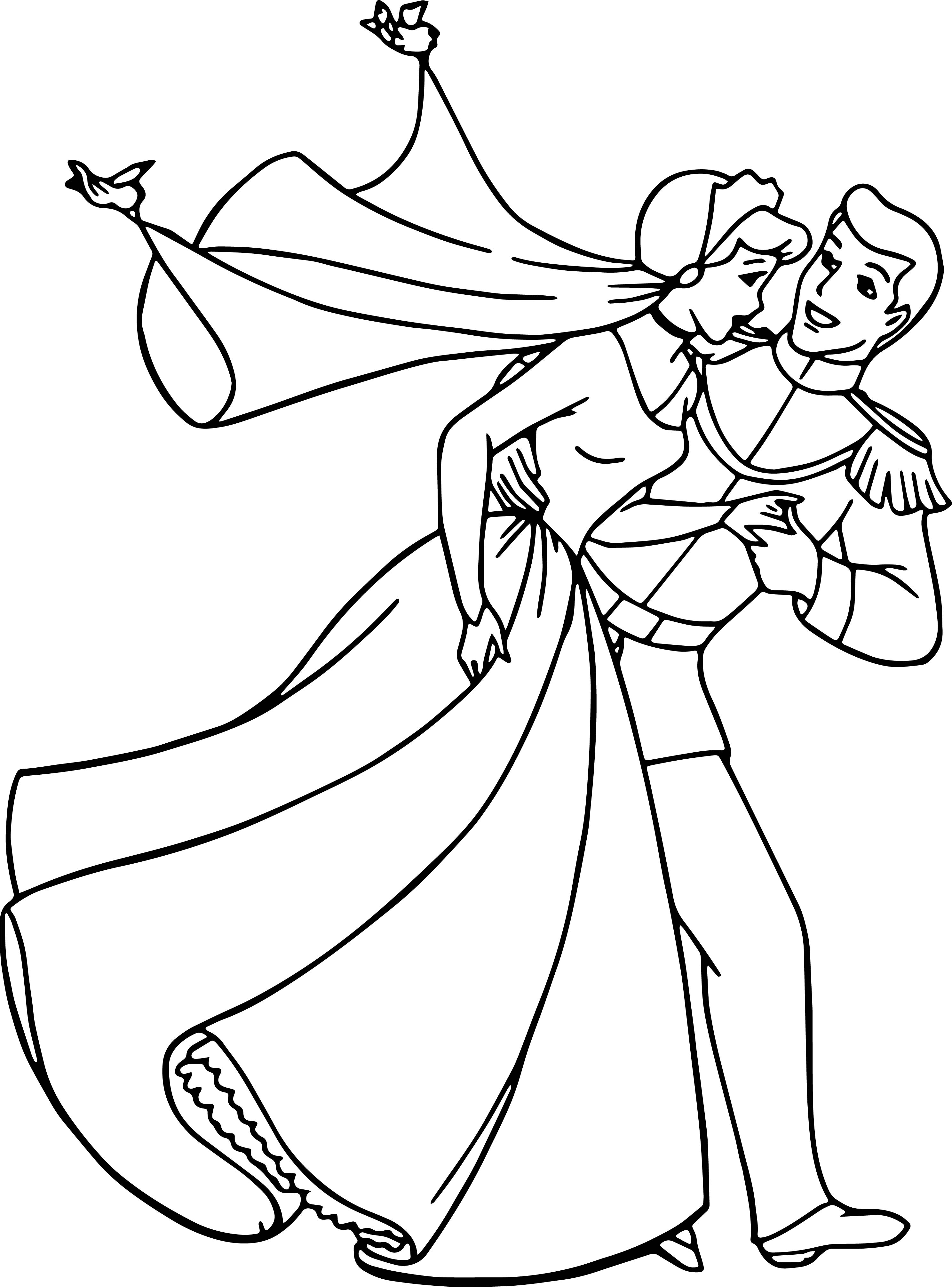 Cinderella And Prince Charming Run Coloring Pages ...