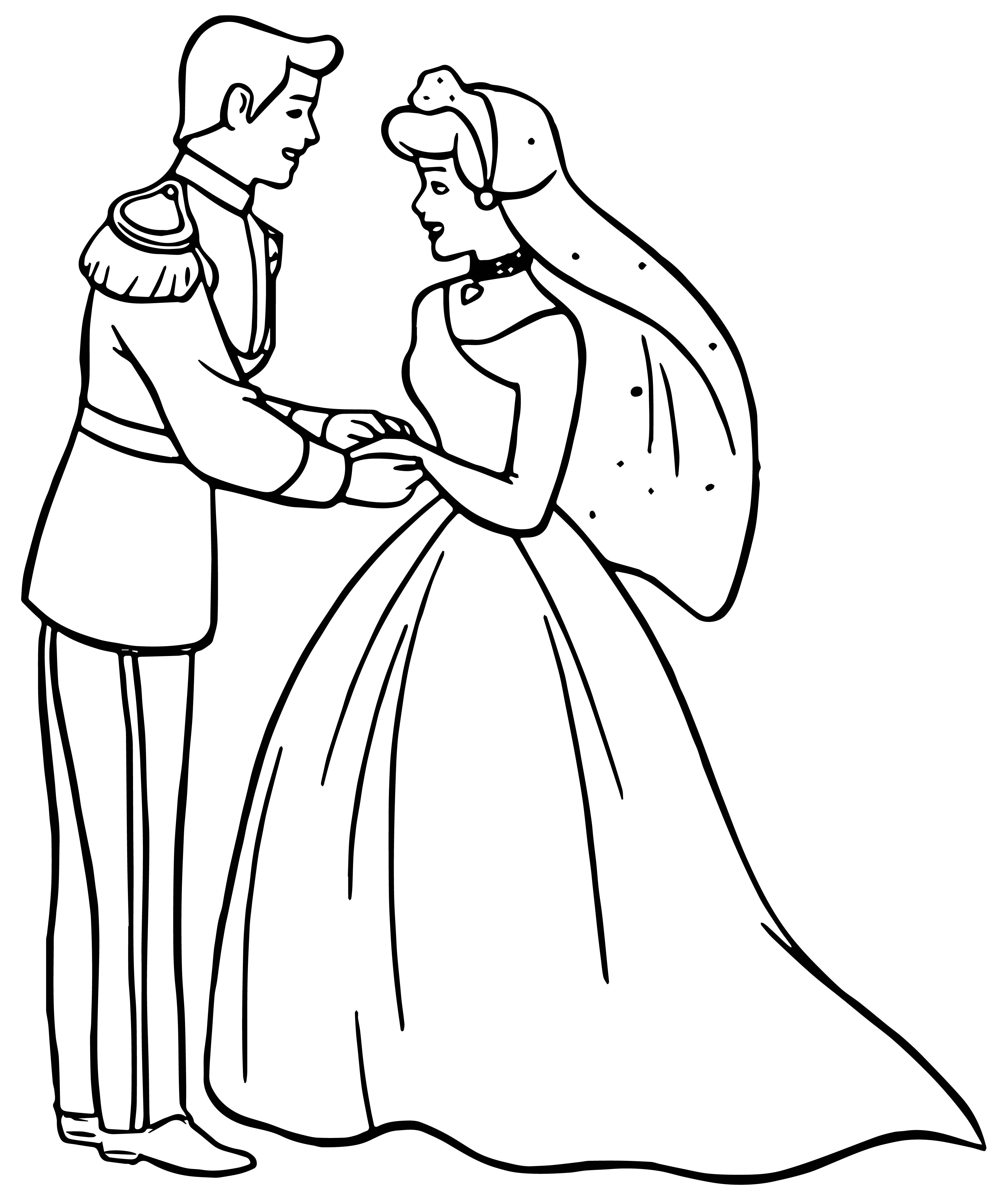 Cinderella And Prince Charming Wedding Dancing Coloring