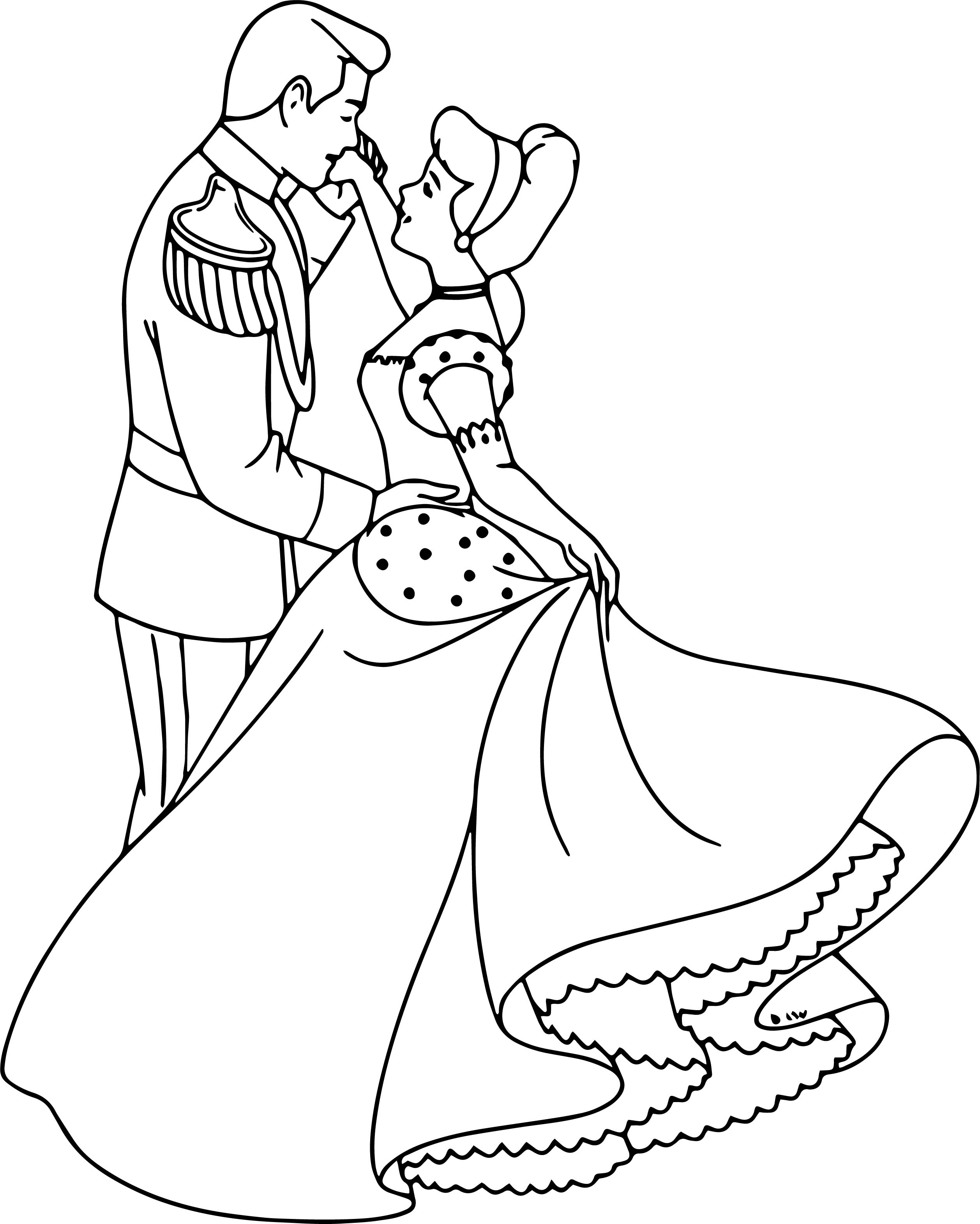 Cinderella And Prince Night Dance Charming Coloring Pages