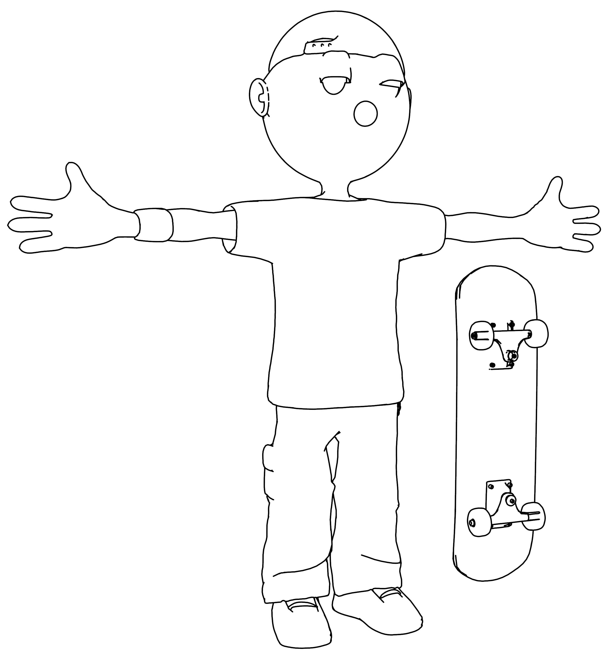 Cool Rap Skateboard Coloring Page
