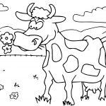 Cow Cartoon Funny Coloring Page