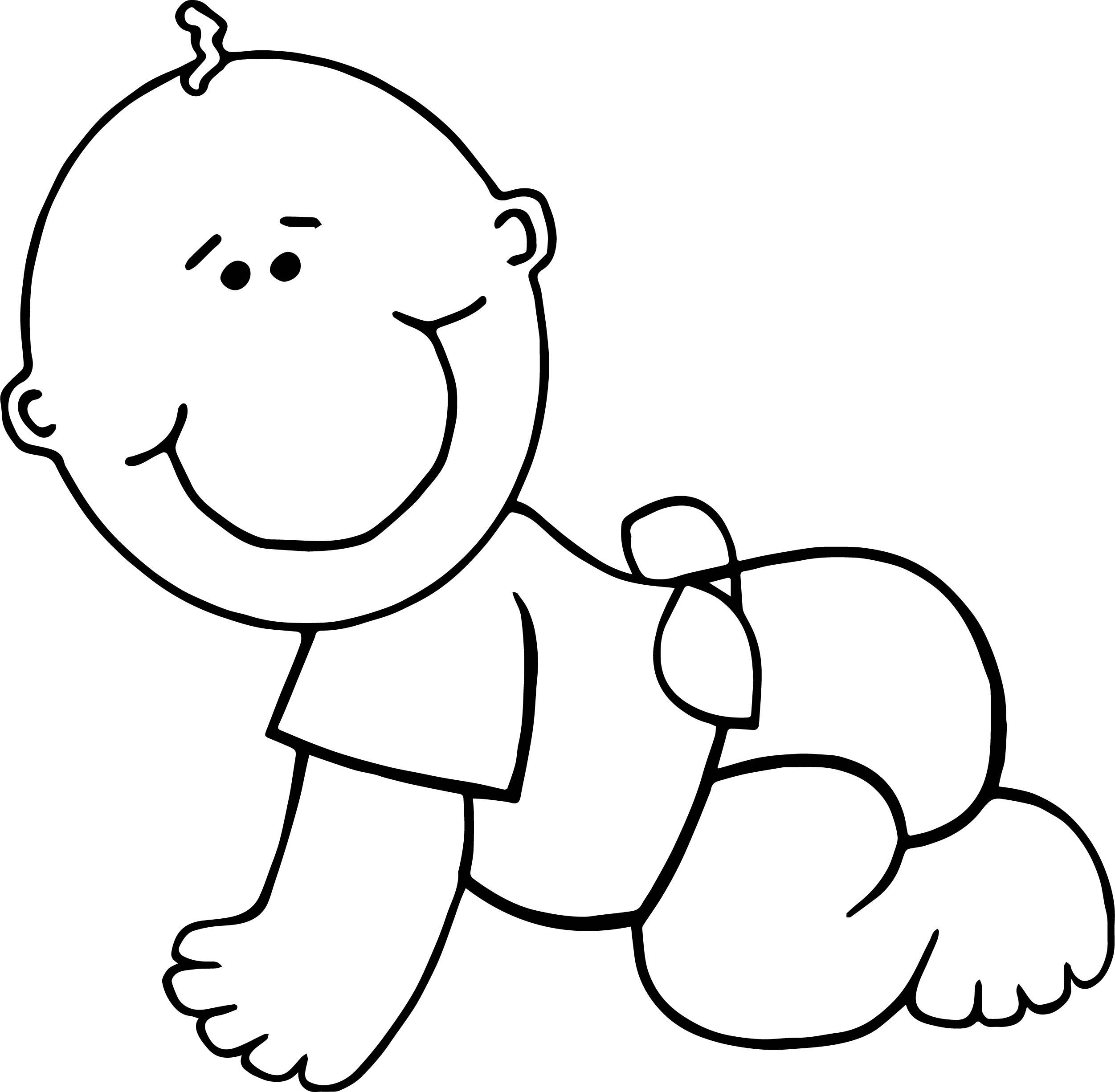 Crawl Boy Baby Coloring Page