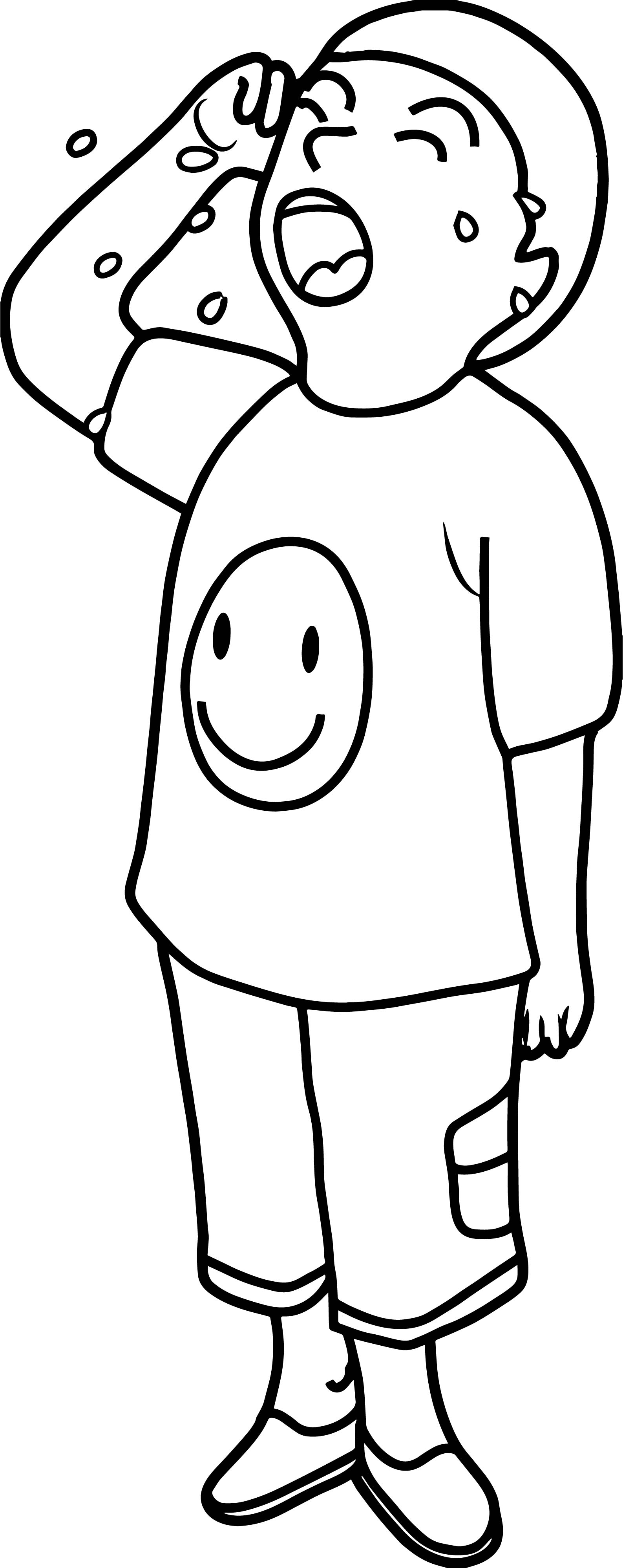 Cry Boy Coloring Page