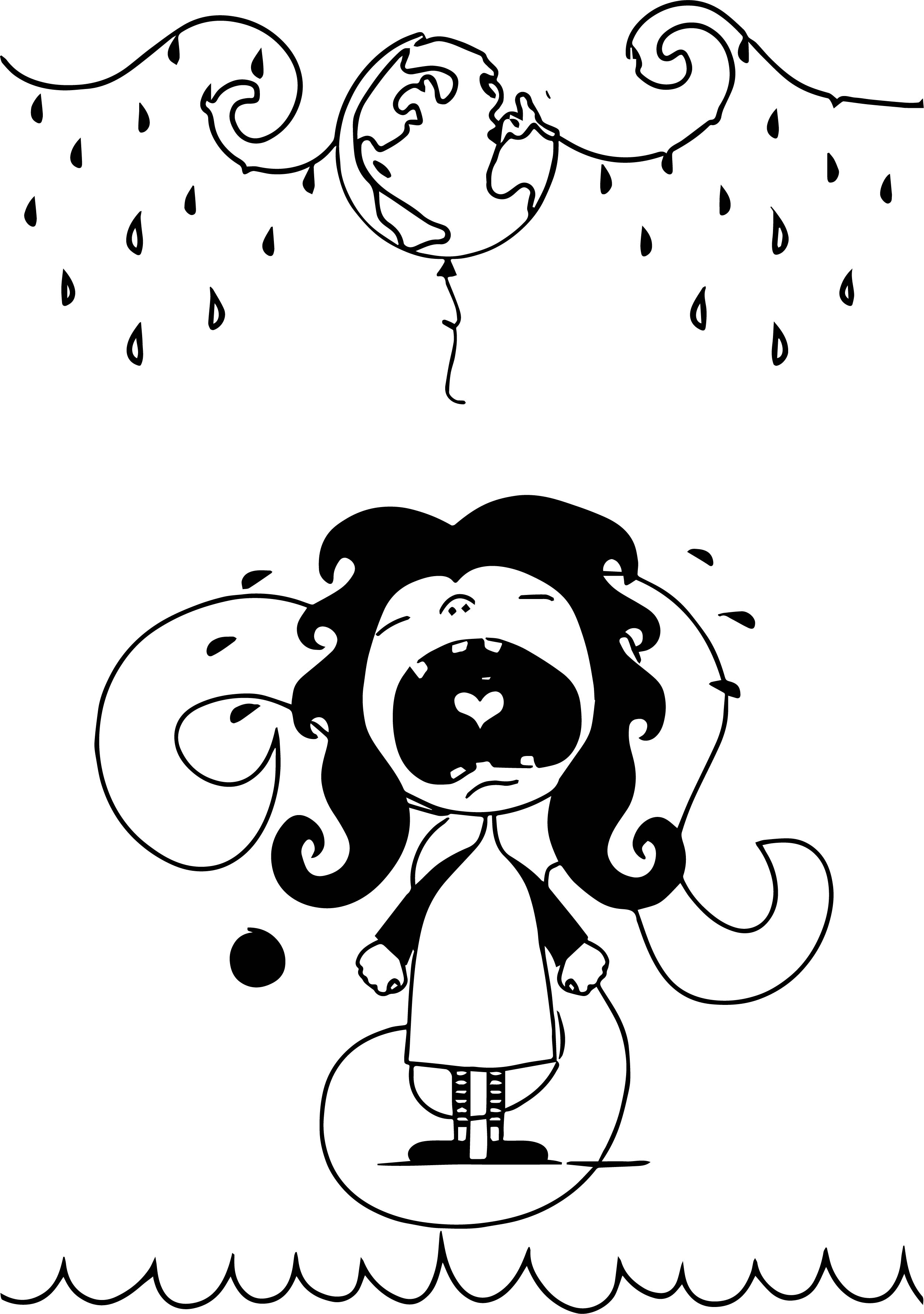 Cry Girl Rain Characters Coloring Page