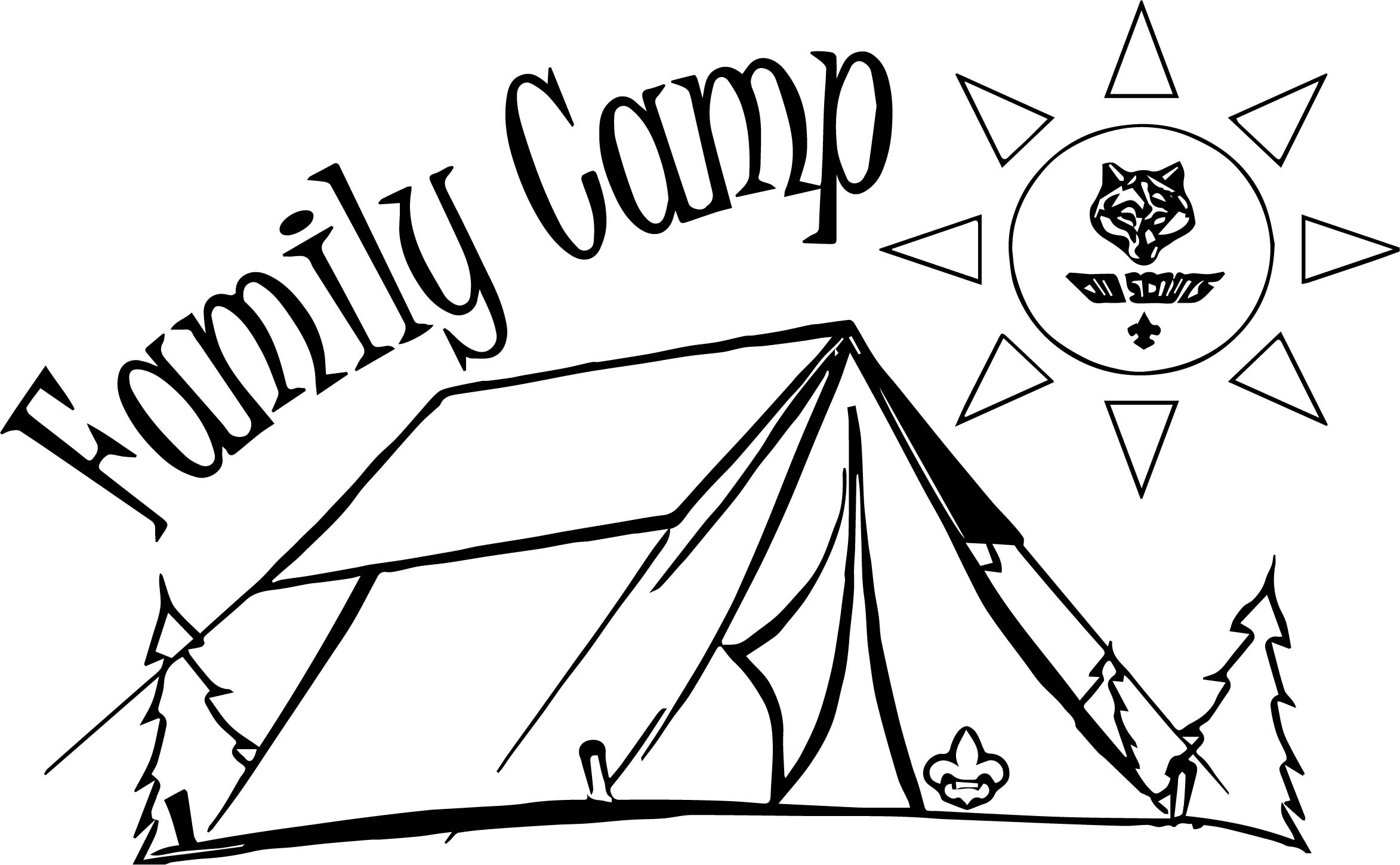 Cub family camp camping coloring page for Camp coloring pages