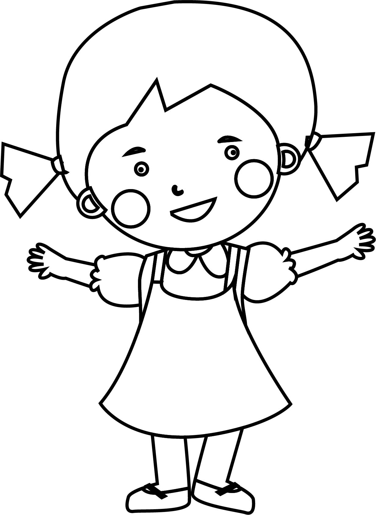 Cute Child Girl Coloring Page | Wecoloringpage.com
