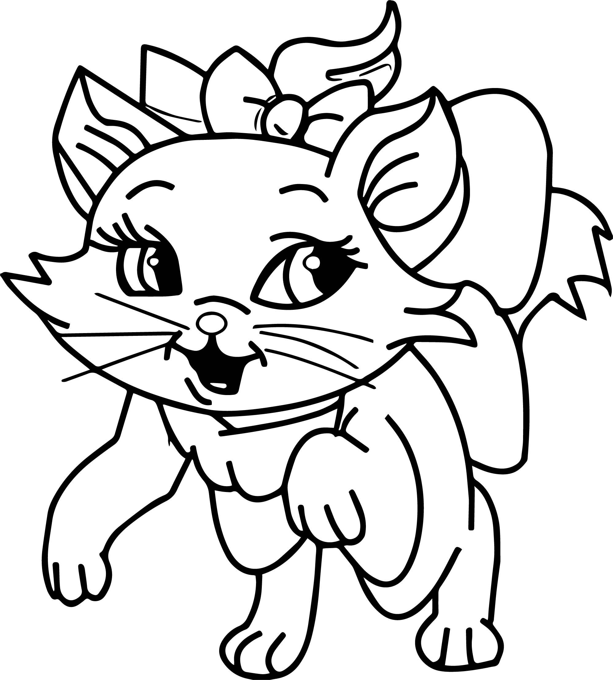 Cute Disney The Aristocats Walking Coloring Page